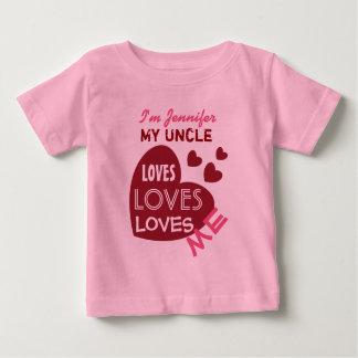 My UNCLE Loves Me Red Hearts Custom Text V07 Baby T-Shirt