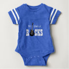 """My Uncle Rocks!"" with electric guitar Baby Bodysuit"