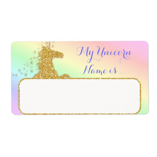 My Unicorn Name Is Label Rainbow & Gold