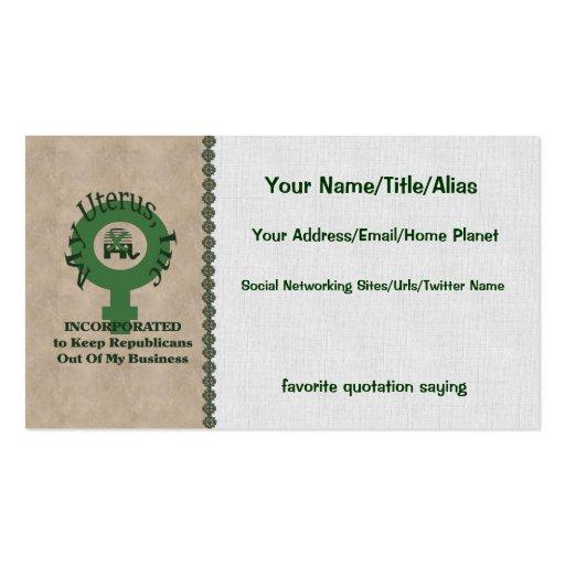 My Uterus, Inc Business Card Templates