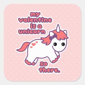 My Valentine is a Unicorn Square Sticker