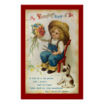 My Valentine Think Of Me Vintage Poster