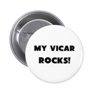 MY Vicar ROCKS! 6 Cm Round Badge