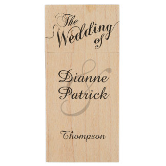 my wedding photos, monogram wood USB flash drive