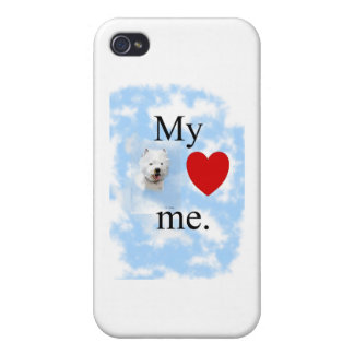 My West Highland terrier loves me iPhone 4/4S Covers
