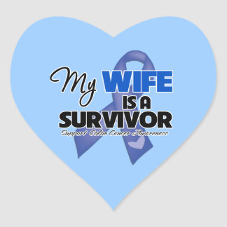 My Wife is a Survivor - Colon Cancer Heart Sticker