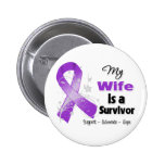 My Wife is a Survivor Purple Ribbon Buttons