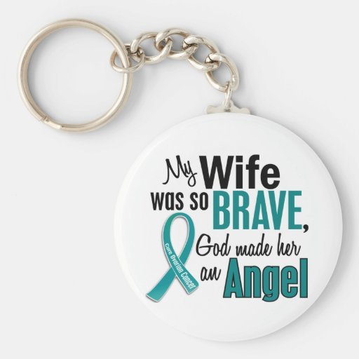 My Wife Is An Angel 1 Ovarian Cancer Key Chains