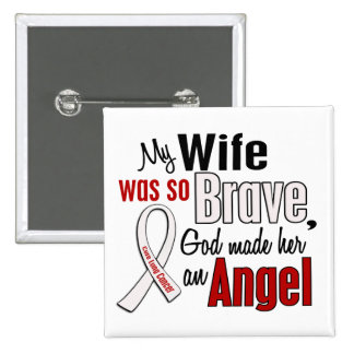 My Wife Is An Angel Lung Cancer 15 Cm Square Badge