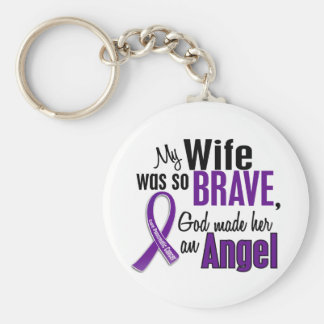 My Wife Is An Angel Pancreatic Cancer Basic Round Button Key Ring