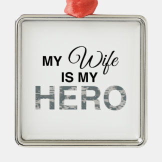 My Wife is my Hero Digital Camouflage Christmas Ornament