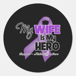 My Wife is My Hero - Purple Ribbon Round Sticker