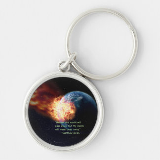 """""""My Words"""" Silver-Colored Round Key Ring"""