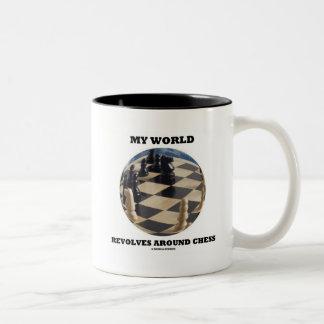 My World Revolves Around Chess (Chess Globe) Coffee Mugs