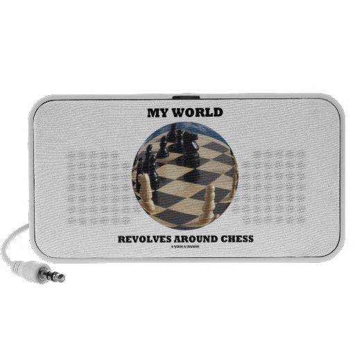 My World Revolves Around Chess (Chess Globe) Notebook Speakers