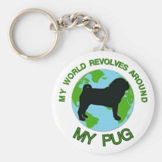 MY WORLD REVOLVES AROUND MY PUG KEY CHAINS