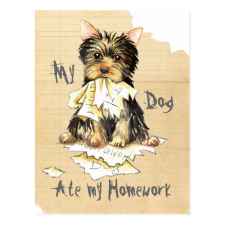 My Yorkie Ate My Homework Postcard