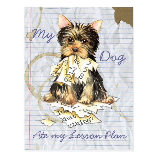 My Yorkie Ate My Lesson Plan Post Cards