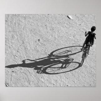 Myamar, Bagan, Young boy riding a huge bike and Poster