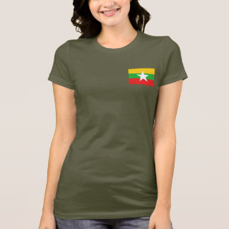 Myanmar Flag and Map dk T-Shirt