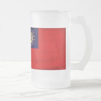 Myanmar Flag Frosted Glass Mug