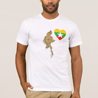 Myanmar Flag Heart and Map T-Shirt