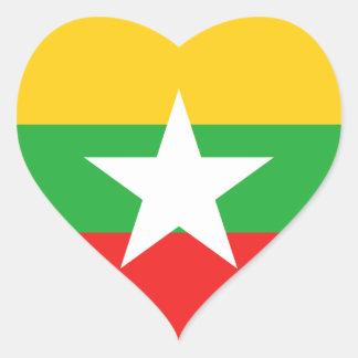 Myanmar Flag Heart Sticker