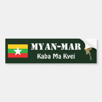 Myanmar Flag + Map Bumper Sticker
