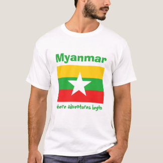 Myanmar Flag + Map + Text T-Shirt