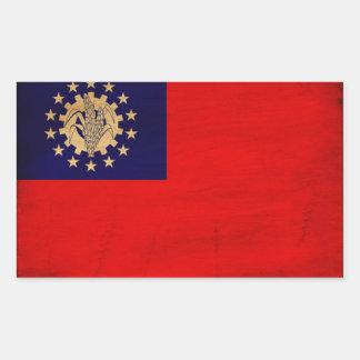 Myanmar Flag Rectangular Sticker