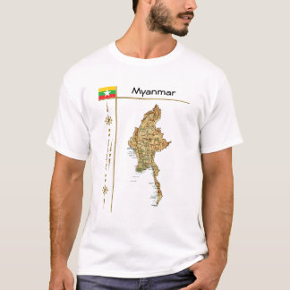 Myanmar Map + Flag + Title T-Shirt