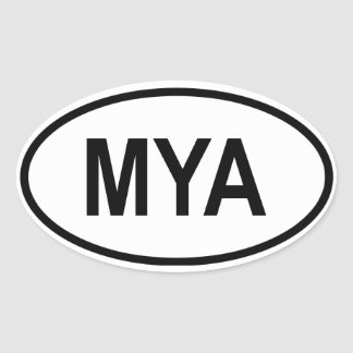 "Myanmar ""MYA"" Oval Sticker"