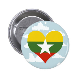 Myanmarese Flag on a cloudy background 6 Cm Round Badge