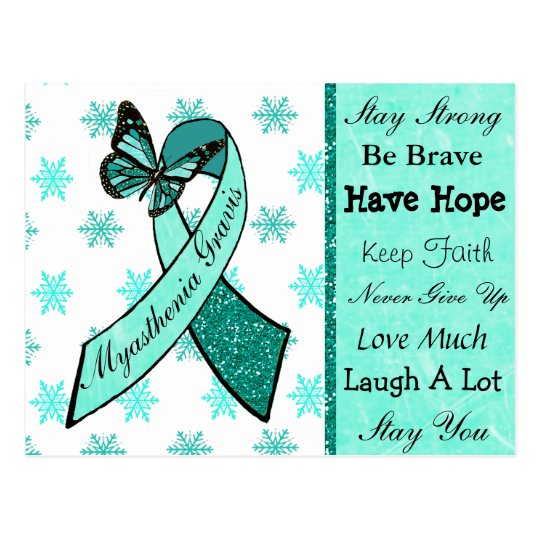 Myasthenia Gravis Hope Butterfly Ribbon Postcard