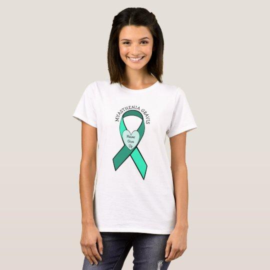 Myasthenia Gravis Never Give Up Heart Ribbon Shirt