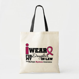 Myeloma I Wear Burgundy Ribbon Daughter in Law Budget Tote Bag