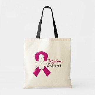 Myeloma Survivor Flower Ribbon Canvas Bags