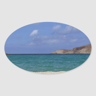 Mykonos beach oval sticker