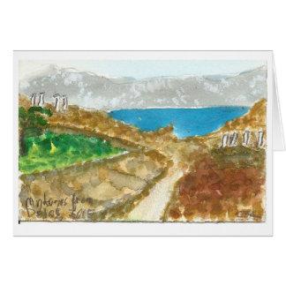 """""""Mykonos from Delos"""" view watercolor art card"""