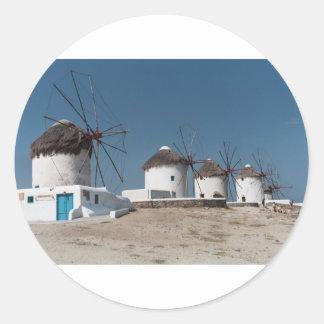 MYKONOS GREECE WINDMILL (St.K) Classic Round Sticker