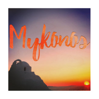 mykonos greece wood wall art