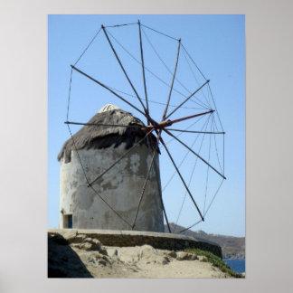 Mykonos Windmill Poster
