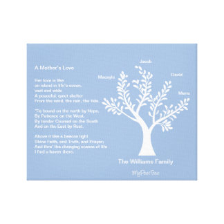 MyPoetTree, Family Tree with Poem for Mom Stretched Canvas Print