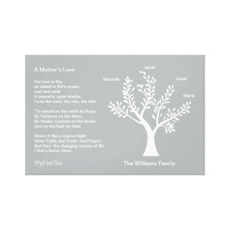MyPoetTree, Family Tree with Poem for Mom Gallery Wrap Canvas