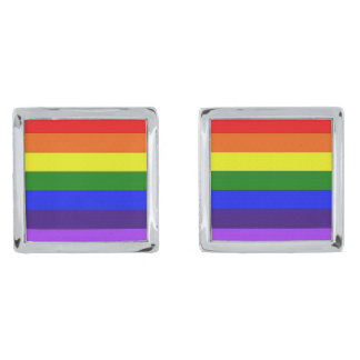 MyPride365 - Square Rainbow Cufflinks Silver Finish Cufflinks