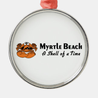 Myrtle Beach Crab Silver-Colored Round Decoration