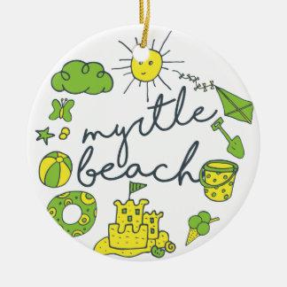 Myrtle Beach Script Round Ceramic Decoration
