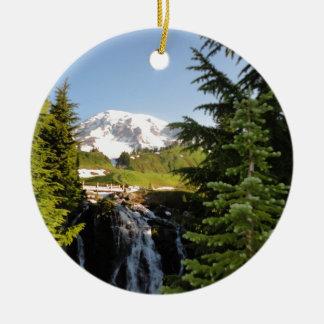 Myrtle Falls, Mount Rainier Round Ceramic Decoration