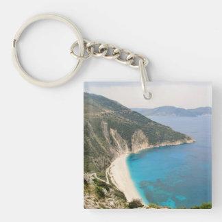 Myrtos Beach (Kefalonia) Double-Sided Square Acrylic Key Ring