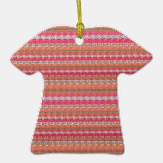 Mysore Silk Fabric Print Pattern from India Unique Ceramic T-Shirt Ornament